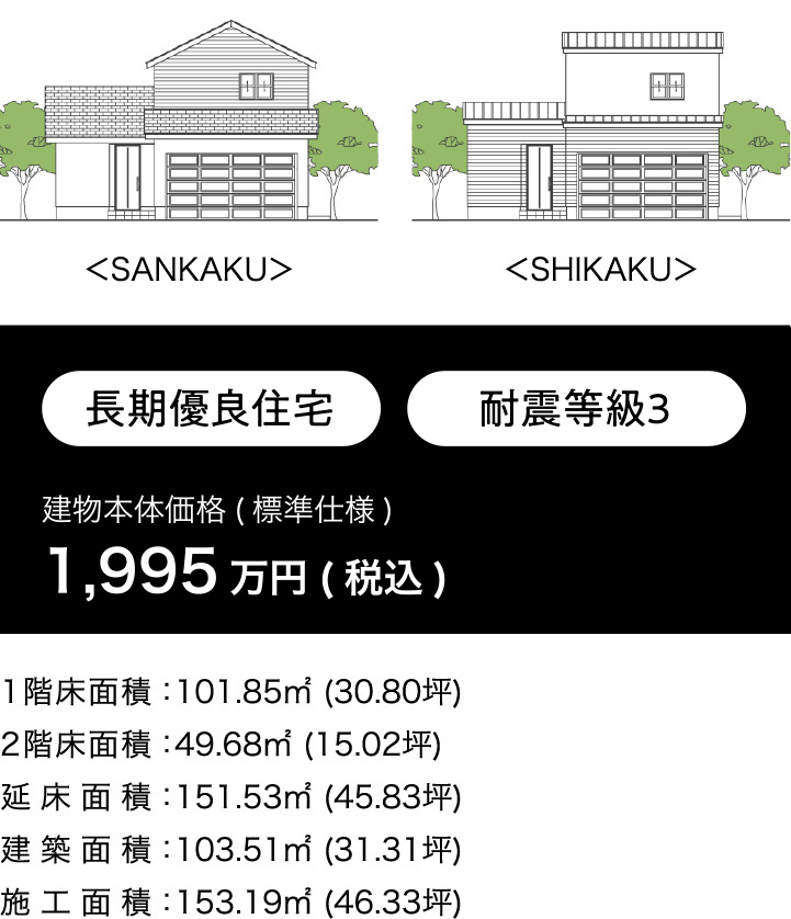 建物本体価格(標準仕様) 1,930.5万円(税込)  1,755 万円(税別)