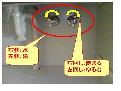 洗面台の止水栓の水量調整方法