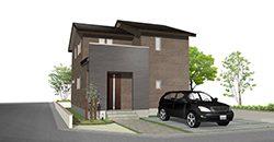 ダークモダンな外観が目を引く、収納と家事動線が充実した家